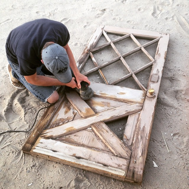 Making due with what we had--an old junkyard door It worked!